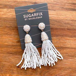NWT BaubleBar White Beaded Tassel Earrings